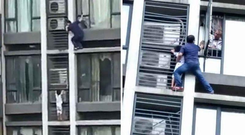 موقف بطولي لأب تسلق 7 طوابق لإنقاذ طفله