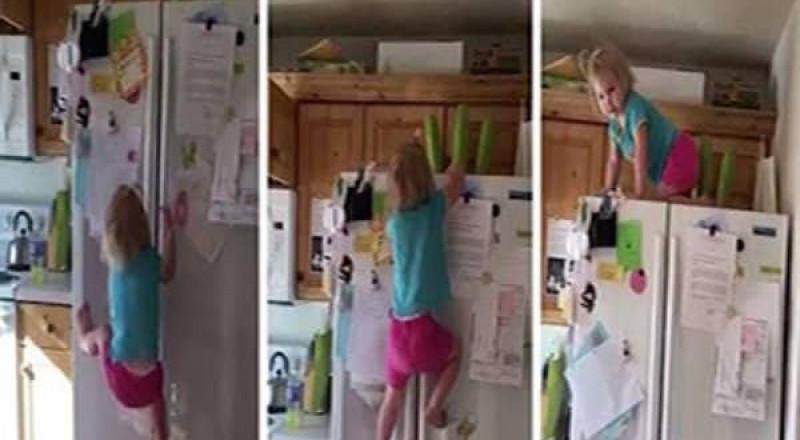 طفلة مشاغبة تتسلق ثلاجة كالسحلية!