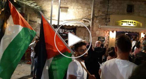 مظاهرة حاشدة ضدّ مجزرة الجيش في غزّة واعتقالات