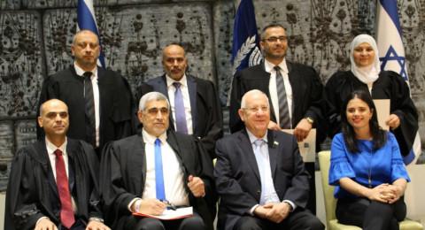 بالصور: تعيين 4 قضاة شرعيين جدد بينهم أول قاضية عربية، بحضور ريفلين وشكيد