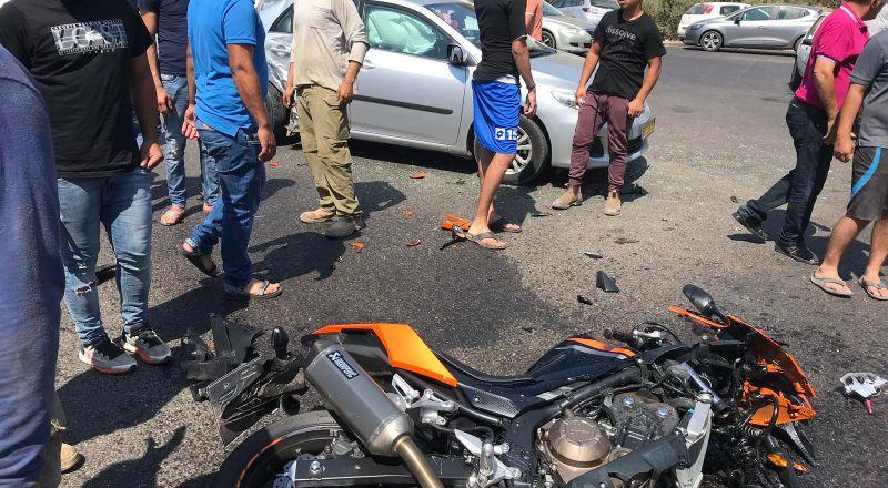 وادي سلامة: حادث طرق واصابة سائق دراجة نارية