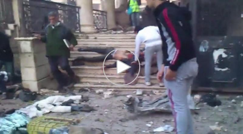 أثار وضحايا القصف على مخيم اليرموك في دمشق