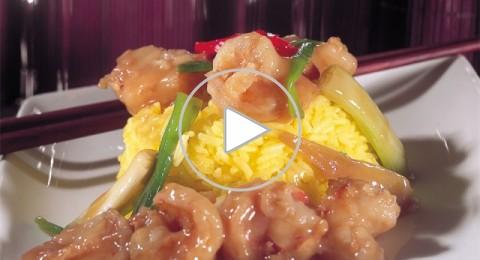 القريدس مع الزنجبيل والبصل الأخضر من مطبخ