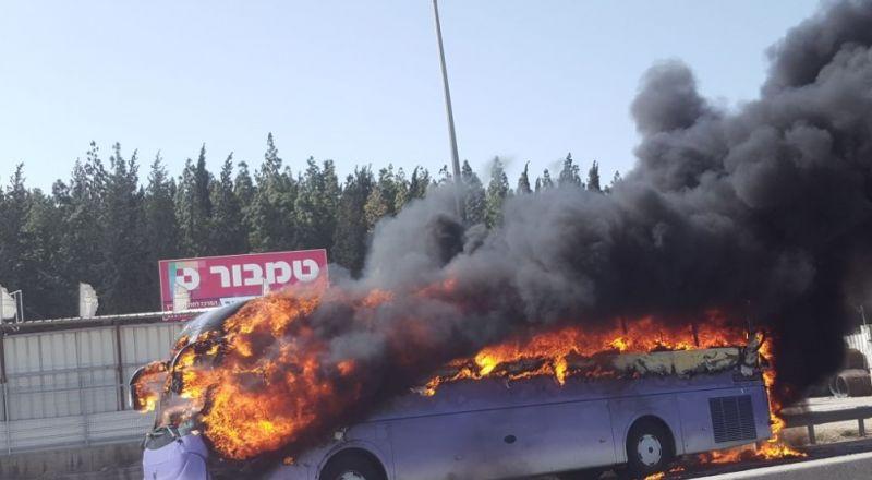 حريق في حافلة بوادي عارة