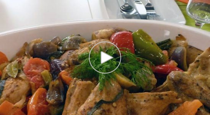 صينية الدجاج والخضروات مع جوز الهند - مطبخ منال العالم