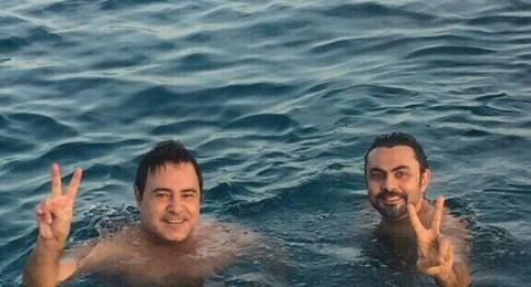عاصي الحلاني والوليد يمارسان السباحة في شرم الشيخ