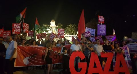 حيفا: اجواء مشحونة بين اليمين والمتظاهرين العرب