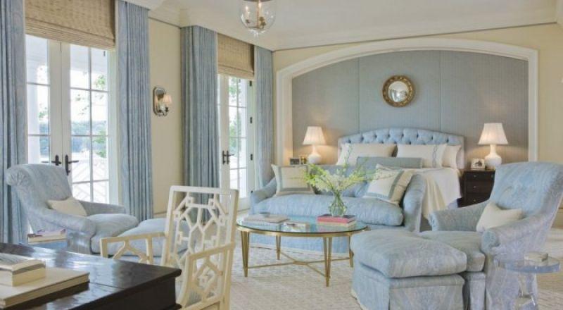 تصاميم غرف نوم للعرائس باللون الازرق والابيض