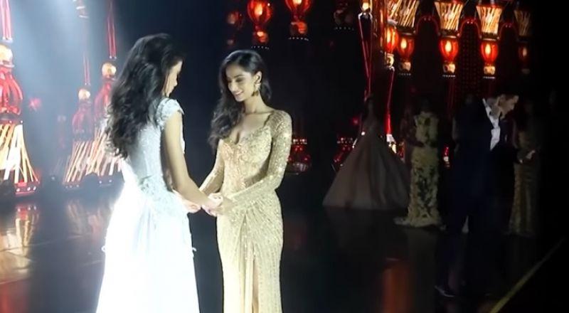 لحظة سقوط ملكة جمال على المسرح بعد إعلان فوزها باللقب