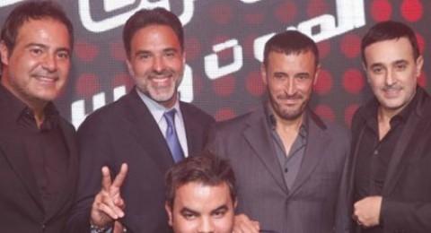 كاظم الساهر مع عاصي وصابر في مؤتمر انطلاق «The voice»