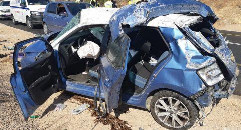 اصابة متوسطة لشابة (24عاما) جراء انقلاب سيارة بالقرب من الرامة