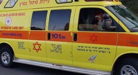 إصابة طفل في رهط اثر سقوط جسم ثقيل عليه