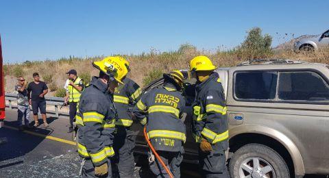 اصابة خطرة لسائق على مدخل نين في حادث