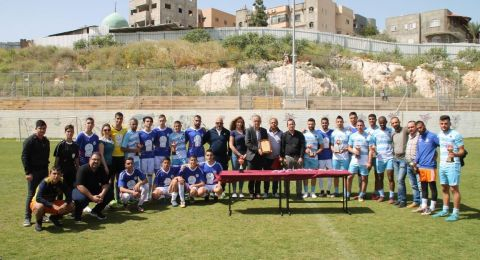 فعالية رياضية لنبذ العنف بثانوية البعنة بمشاركة لاعبي اللوبي العربي لنبذ العنف ومنتخب طلاب المدرسة