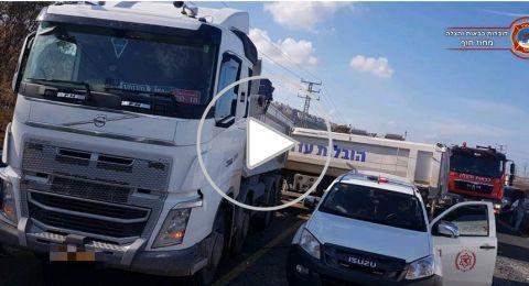 اصابات متفاوتة في حادث طرق عند مفرق الياجور