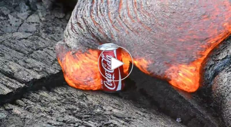 شاهد ماذا يحدث عند وضع علبة كوكا كولا في الحمم البركانية؟