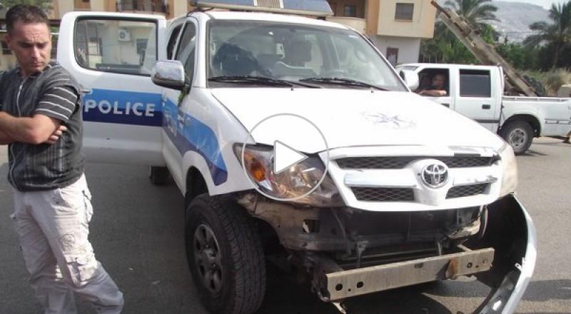 حادث طرق بين دراجة نارية وسيارة شرطة في مجد الكروم