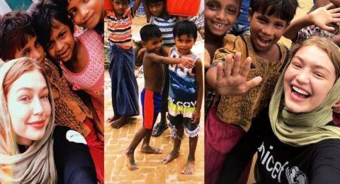 جيجي حديد في زيارة لمخيم اللاجئين في بنغلاديش