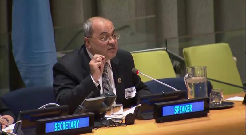 الطيبي في خطابه بالأمم المتحدة: جئتكم من القدس والطيبة لاسمع صوت شعبي من اجل السلام والعدل والمساواة