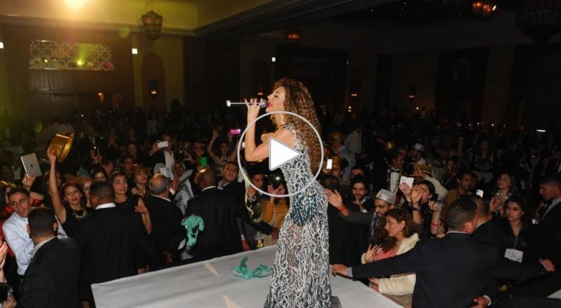 ميريام فارس بفستان شفاف تخطف الانظار بحفل راس السنه في المغرب