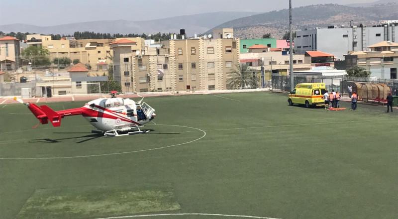 عرابة: سقوط سيدة بالثمنينات من عمرها من علو ونقلها بواسطة مروحية