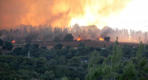 حريق ضخم في الكرمل يقترب من البيوت بعسفيا