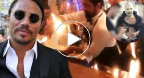 """فيديو: إصابة 5 أشخاص بحروق في مطعم """"نصرت"""" أثناء عرض ناري"""
