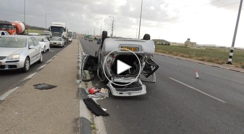 الطيرة: اصابتان طفيفتان احداها لسيدة من قلنسوة بحادث طرق