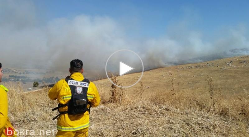 حريق هائل شمال غرب بحيرة طبريا