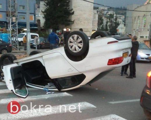 سخنين: اصابة خطيرة و4 اصابات اخرى في حادث انقلاب سيارة -1