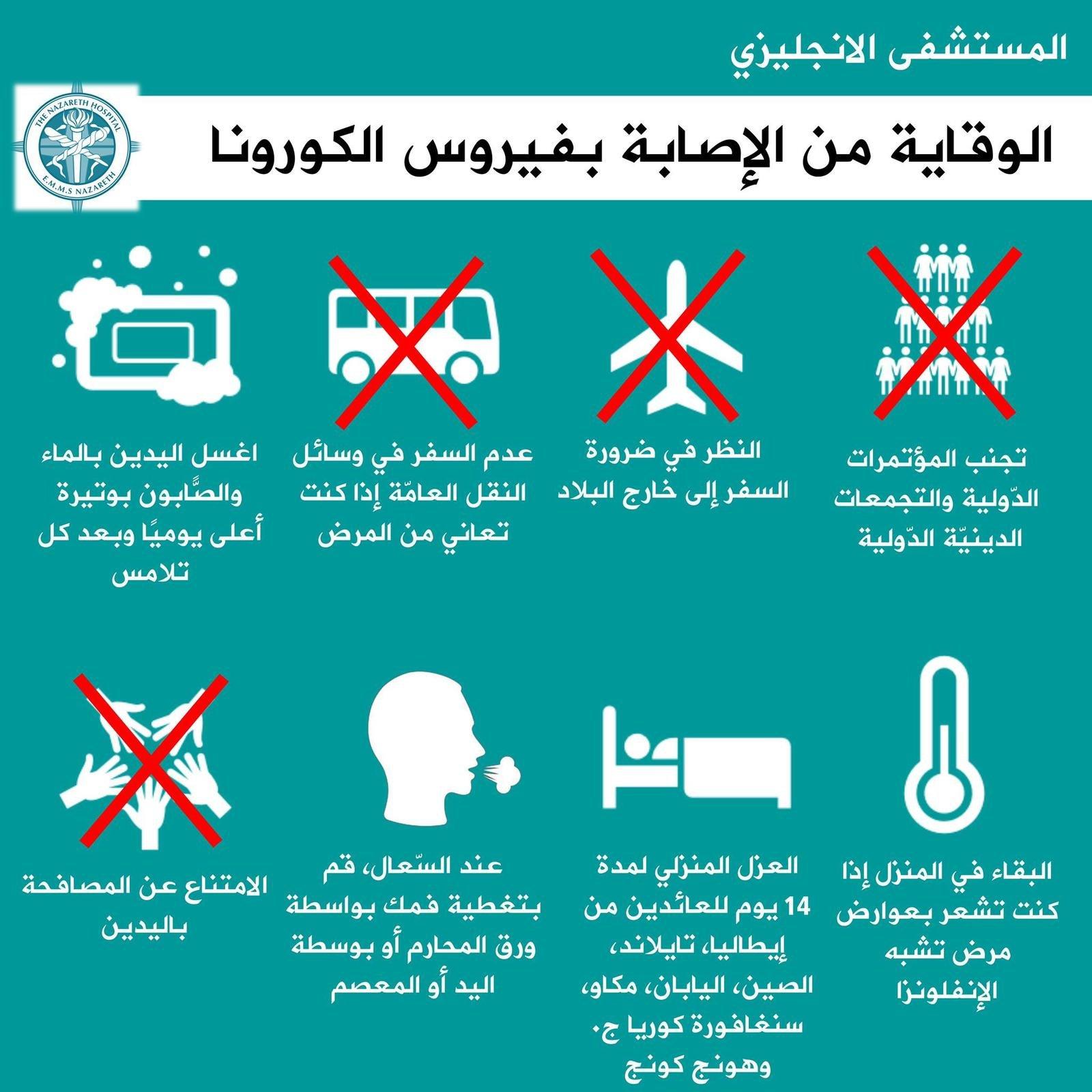 بلدية الناصرة: الانتباه والحذر والخطوات الوقائية من الكورونا-1
