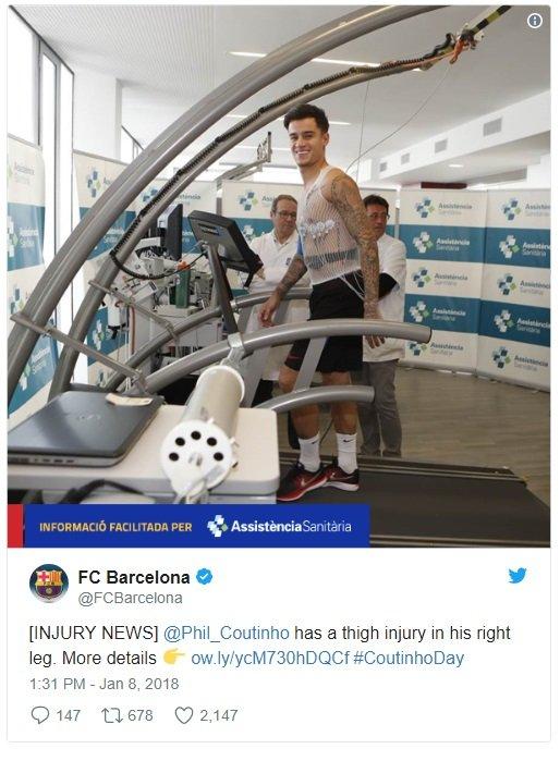 """كوتينيو يعاني من إصابة و""""البرسا"""" يحدّد مدة غيابه-0"""