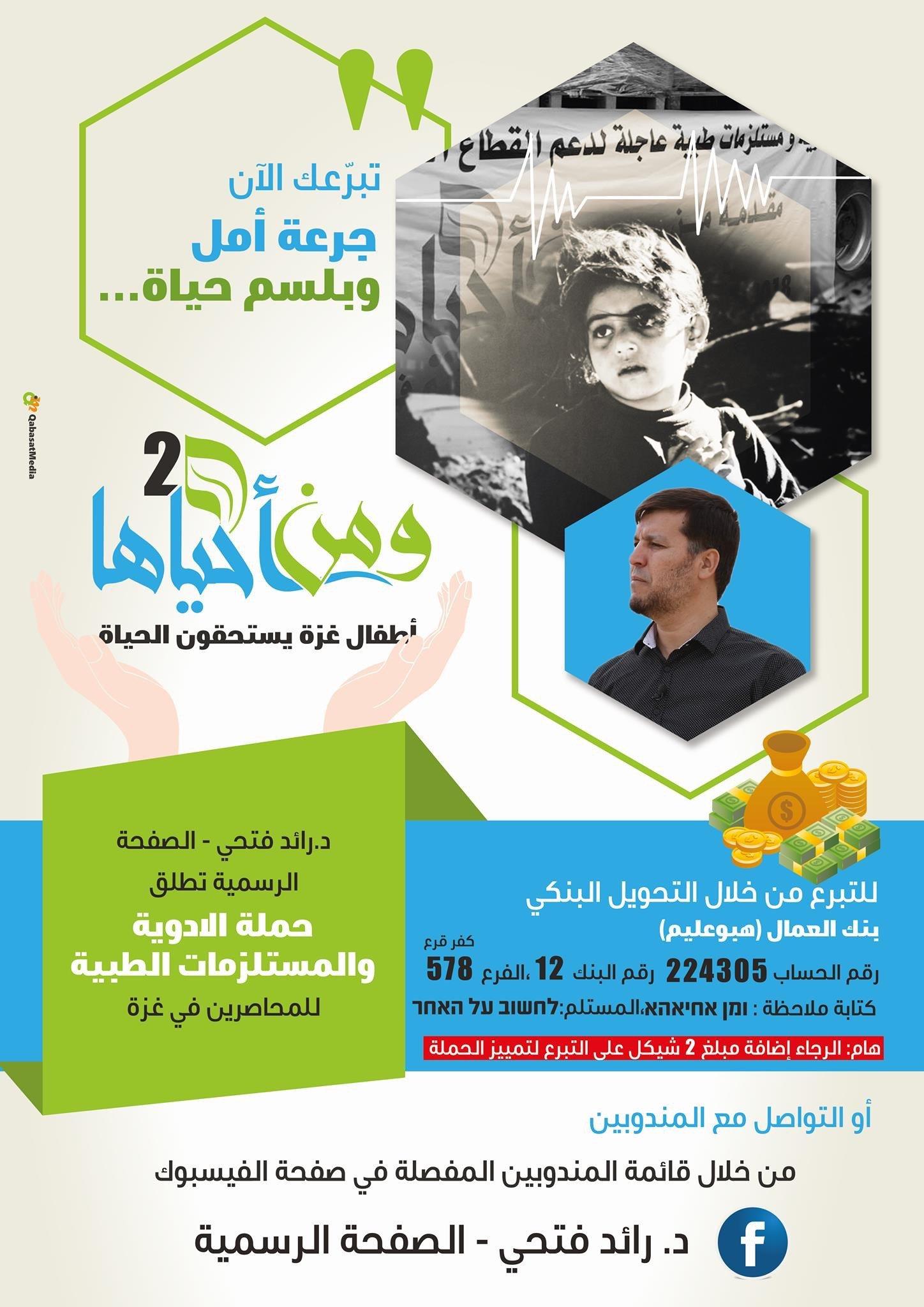 الشيخ د. رائد فتحي يطلق  ومن أحياها 2 لإغاثة غزّة وأهلها