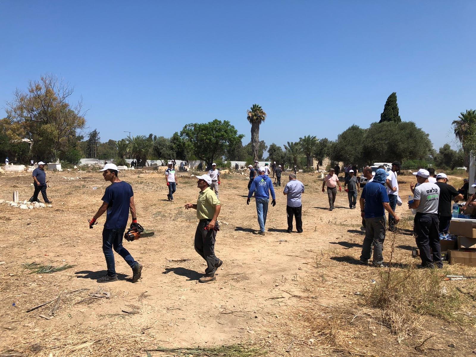 العشرات من أهالي مدينة حيفا وام الفحم يشاركون بترميم مقبرة القسام في حيفا-4