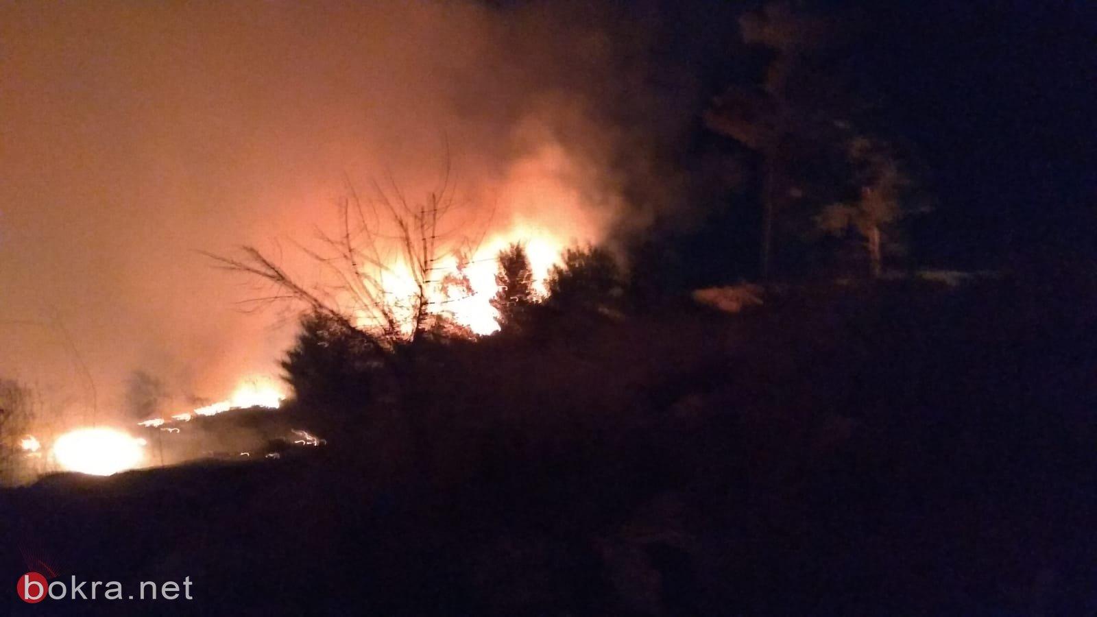 حريق هائل في الأحراش المجاورة للدحي واخلاء منازل-1