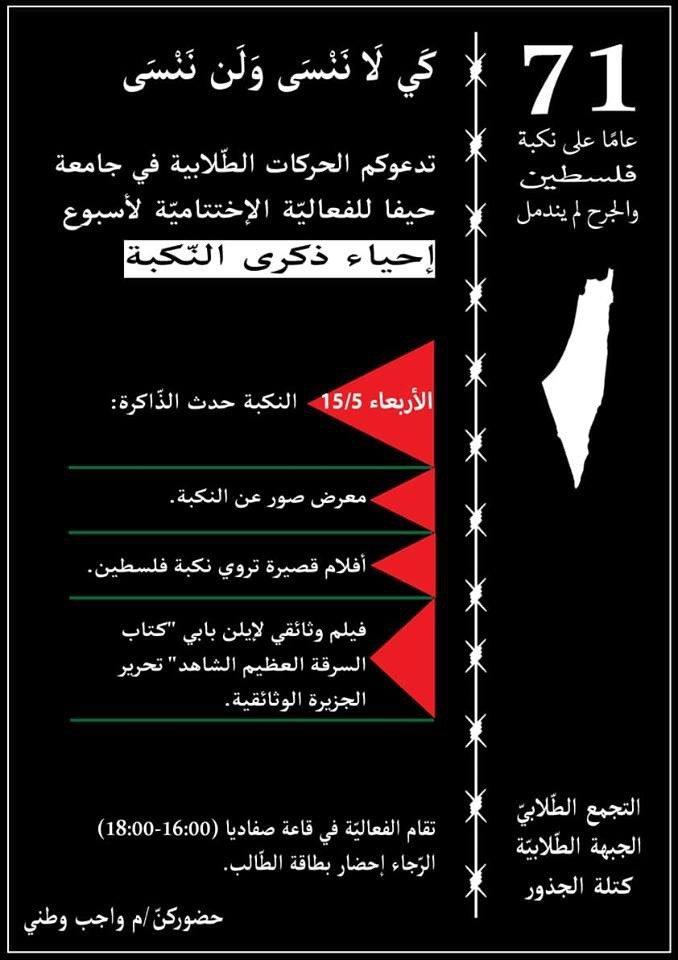 طلّاب الجامعات يستعدّون لإحياء ذكرى النكبة غداً