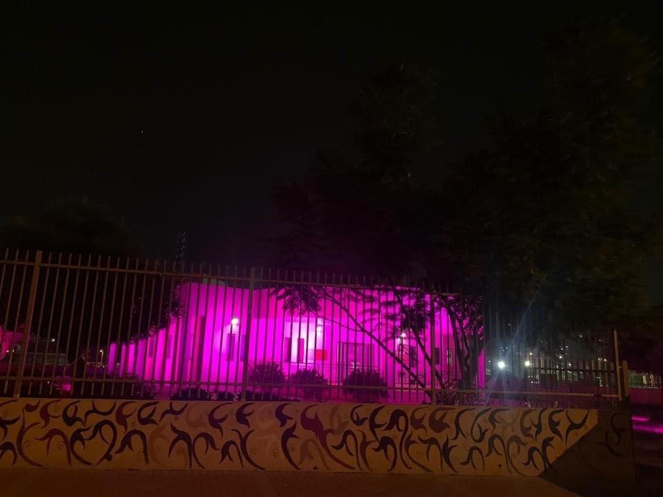 اضاءة مجلس عارة عرعرة المحلي باللون الوردي للتوعية حول سرطان الثدي-0