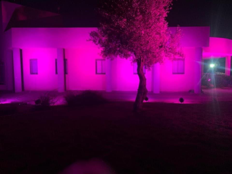 اضاءة مجلس عارة عرعرة المحلي باللون الوردي للتوعية حول سرطان الثدي-3