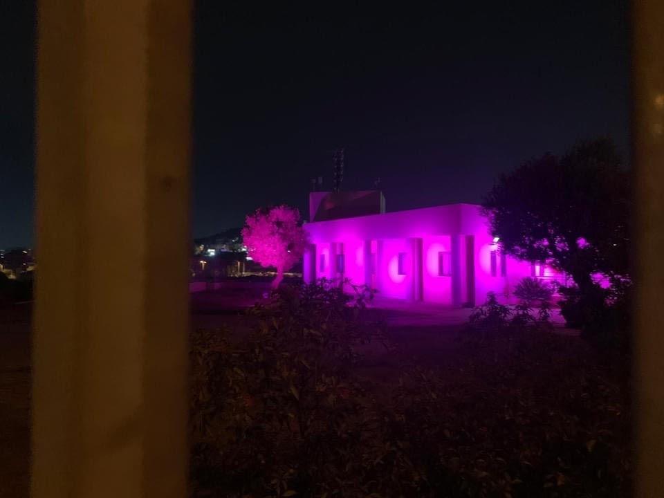اضاءة مجلس عارة عرعرة المحلي باللون الوردي للتوعية حول سرطان الثدي-4