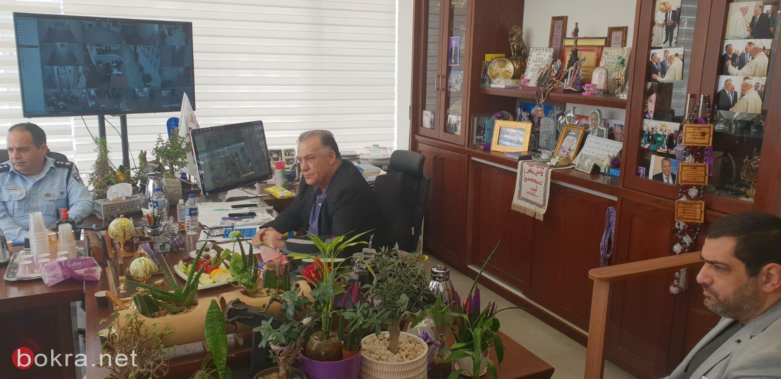 جلسة عمل مع قيادة الشرطة وقائد الجبهة الداخلية في بلدية الناصرة-0