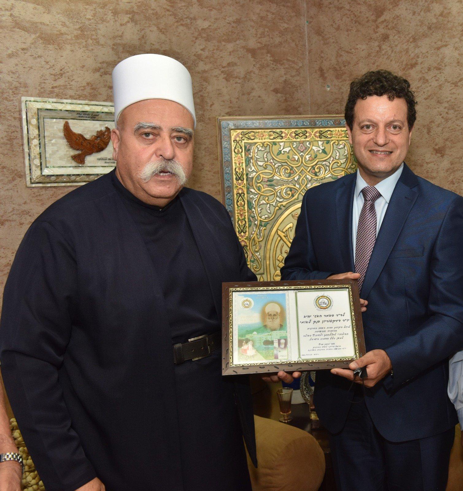 عشية العيد: رئيس مجلس إدارة لئومي د. سامر حاج يحيى يزور الشيخ موفق طريف-1