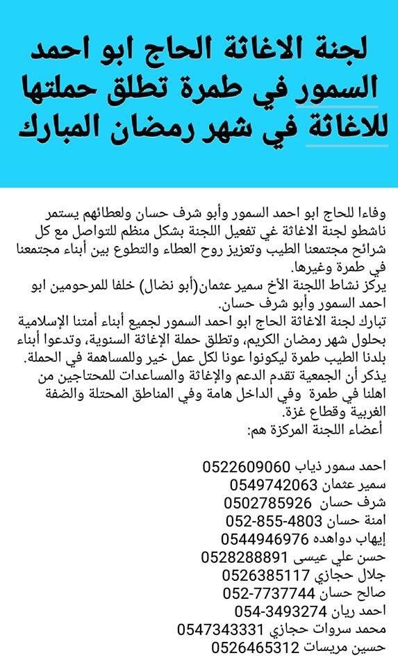 طمرة: اطلاق حملة لإغاثة المحتاجين