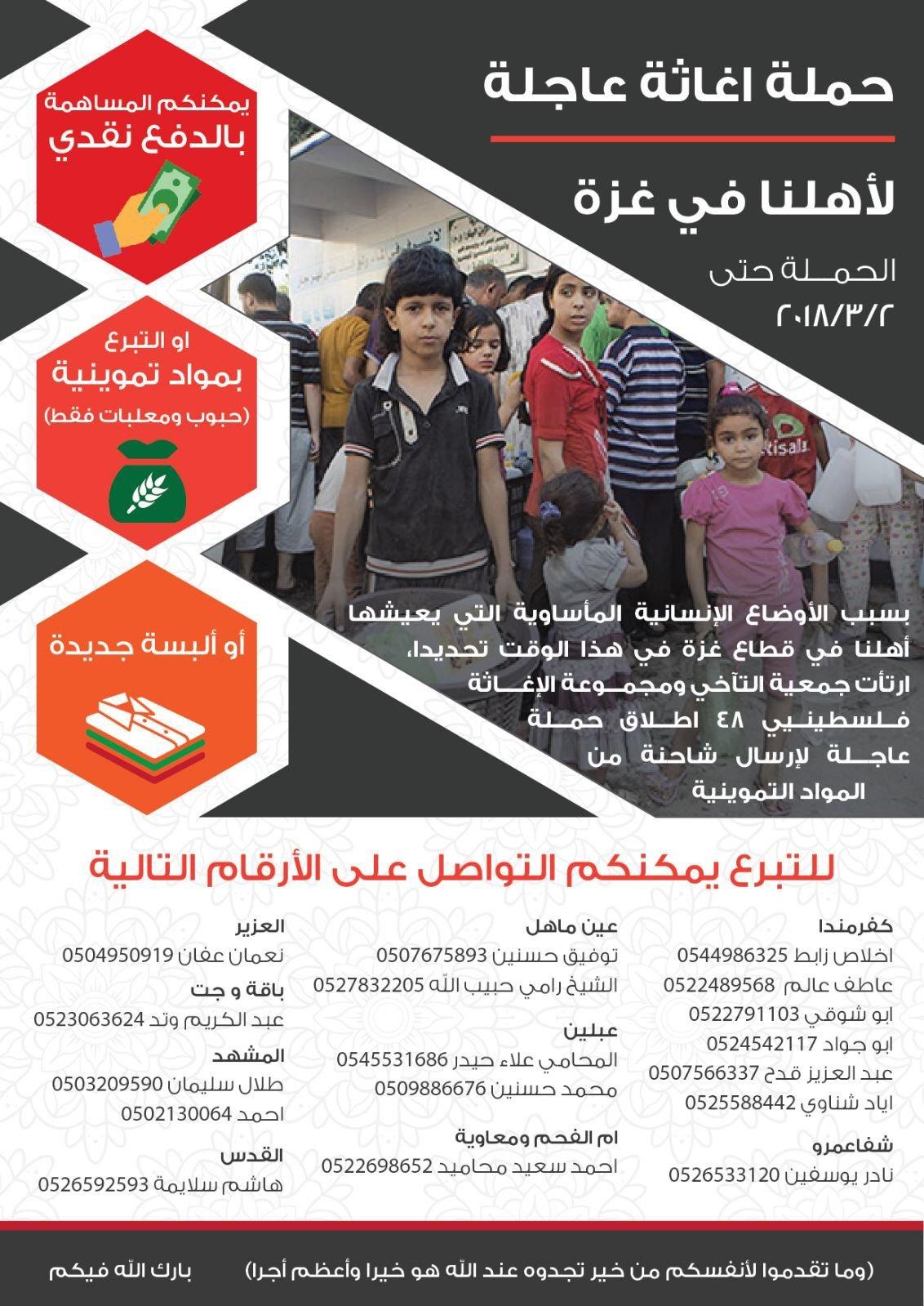 اطلاق حملة اغاثة عاجلة لأهالي غزة