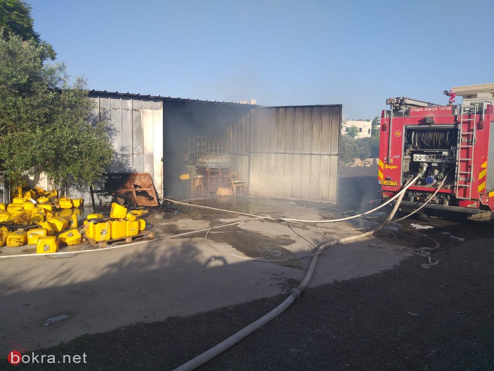 كفرقرع: اندلاع حريق في مخزن للزيت