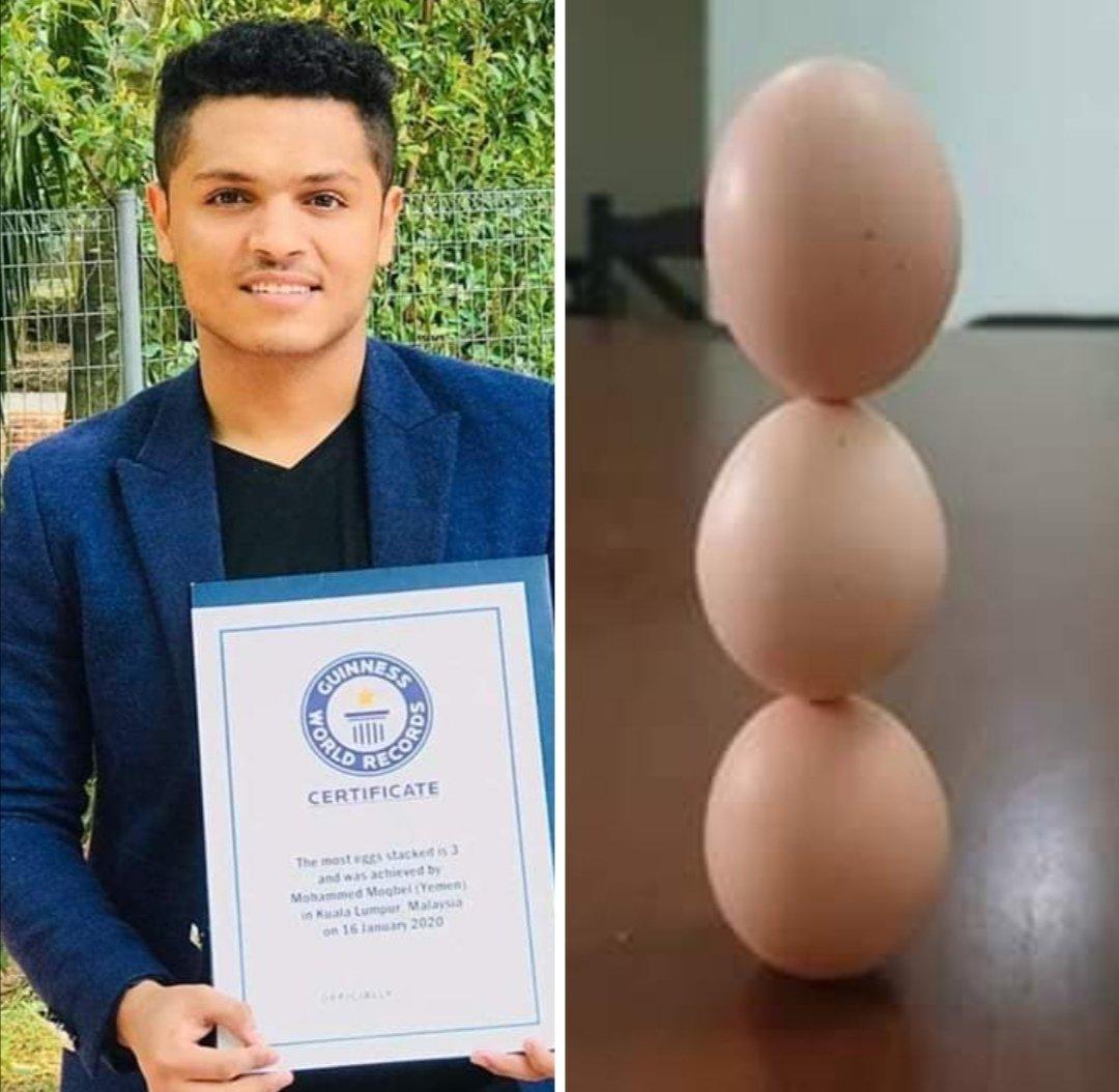 شاب يمني يدخل موسوعة غينيس العالمية بعدما فعل شيئا مذهلا باستخدام البيض