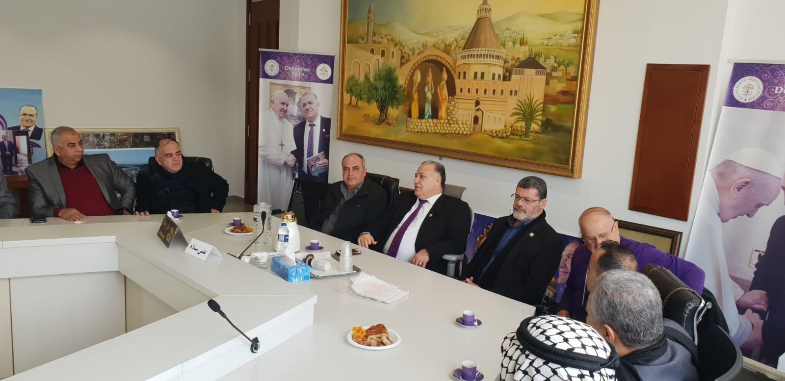 رئيس بلدية جنين فايز السعدي وأعضاء بلدية يزورون بلدية الناصرة-5