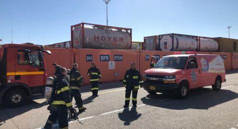 حيفا: معالجة تسرب مادة خطرة من خزان في ميناء حيفا
