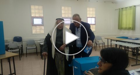 الحاج أحمد أبو عيّاش (102 عامًا) من عيلوط، يدلي بصوته ويدعو بالتصويت للمشتركة