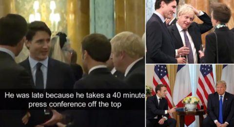 ماكرون وترودو وجونسون يسخرون من ترامب.. وعدسات المصورين تفضحهم