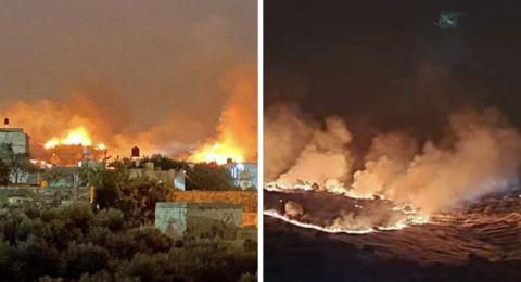 المستوطنون يحرقون أراضي الفلسطينيين في بورين قرب نابلس